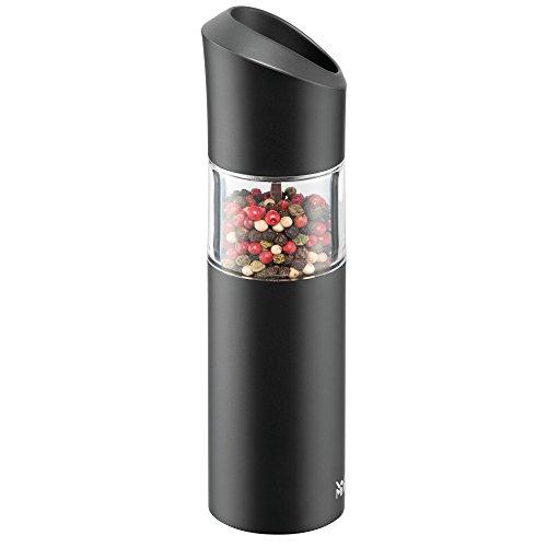 WMF Elektrische Kippmühle, Kunststoff, Salz und Pfeffermühle, unbefüllt, Kunststoff Glas, Keramikmahlwerk, H 19,5 cm, Schwarz