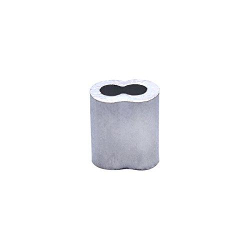 Aluminium Doppel-Metallkappen Ärmeln Crimpen Loop Sleeve für 2mm (5/162,6cm) Draht Seil Kabel...