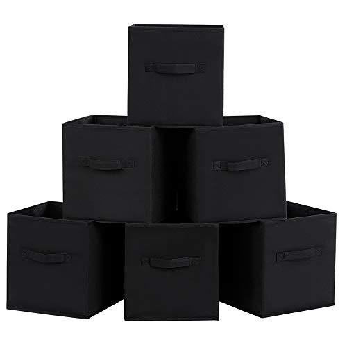 SONGMICS 6 Stück faltbare aufbewahrungsbox faltbox Schwarz 26 x 26 x 28 cm ROB26H