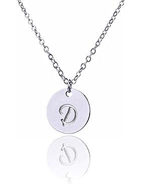 AOLOSHOW Klein Script Initiale Kette Silber Initiale Scheibe Halskette