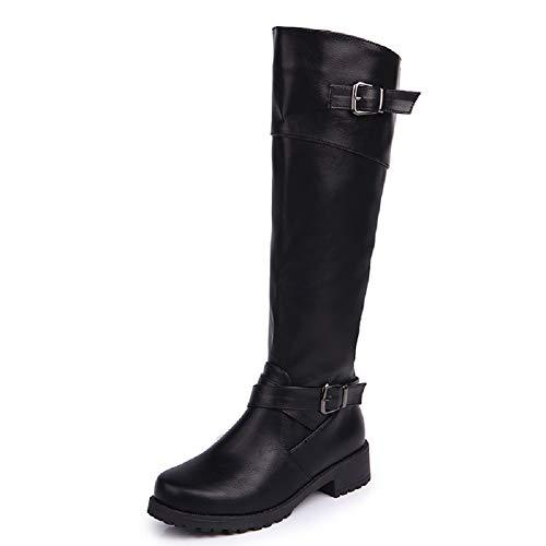 Anokar Stiefel Damen Leder Flach Reißverschluss Overknee Langschaft Stiefel Winter Reitstiefel Casual Elegante Schuhe Fashion, schwarz, Gr. 40, Herstellergrösse 250
