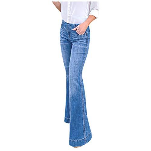 Linlink Damen Hoch taillierte Jeans mit weitem Bein und Stretch Flare Bell Slim Hosenlänge Jeans in Übergröße -