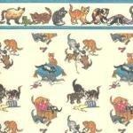 Melody Jane Puppenhaus Verspieltes Kätzchen auf Cremefarbenen Miniatur Druck Tapete -
