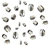 Grub Screws Metric Thread (Mixed 40 PACK) A2 Stainless Steel Cone Point 10 X M3,M4,M5 & M6 x 6mm Socket Allen Key Grub Screw Free UK Delivery by DBA Hardware