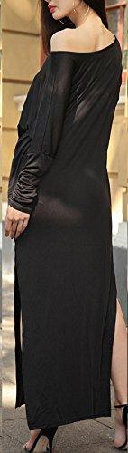 Damen Maxikleid Kleid Freizeitkleid Oblique O Ausschnitt Langarm Irregular Die Neue Geöffnete Gabel Trägerlos Uni-Farben Sommer Einteiler 2017 Schwarz