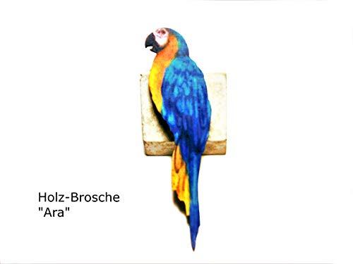 Brosche, Anstecknadel, Ara, Papagei, Holz -