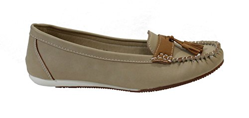 By Shoes Mocassin Plate Style Cuir - Femme Beige