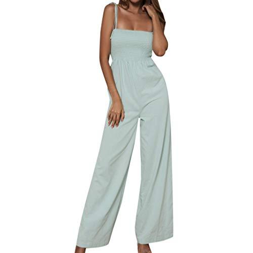 Elegante Kleider Damen Kleid Cocktailkleider Ronamick Frauen Sonnenblumen Dot Print Overall ärmellose Clubwear Wide Bein Hose vor Ort Outfit(M, Grün) Dot Overall