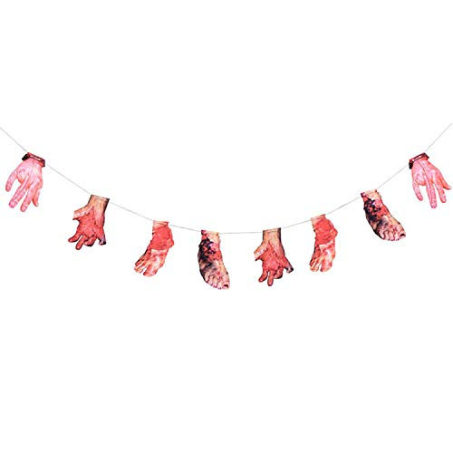 Faulen Hände & Füße hängen Flagge Blutige Horror Requisiten Ideal für Party Kostüm Festival Dekoration Ornament ()