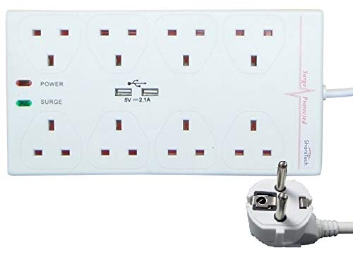 ShaniTech Reiseadapter-Verlängerungskabel mit Netzlicht, 2 m, für Belgien, Dänemark, Ägypten, Frankreich, Deutschland, 2 m, Weiß