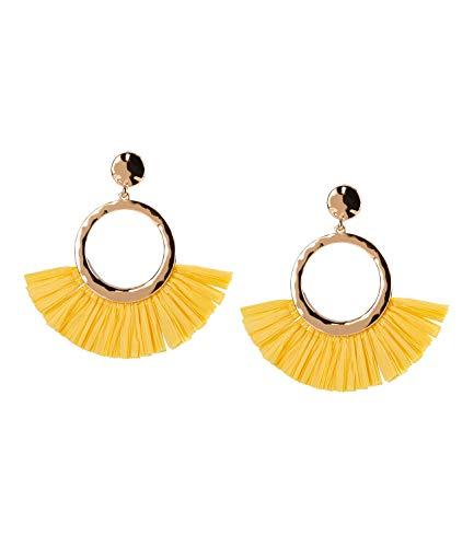 SIX Große Damen Ohrringe mit gold-farbenen Steckern in Kreis-Form mit gelben Fächer-Tassel aus Bast (787-822) (Gelber Kreis Papier)