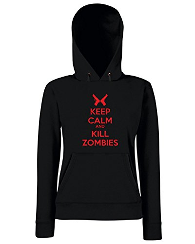 Cotton Island - Felpa Donna Cappuccio TZOM0041 keep calm and kill zombies , Taglia M