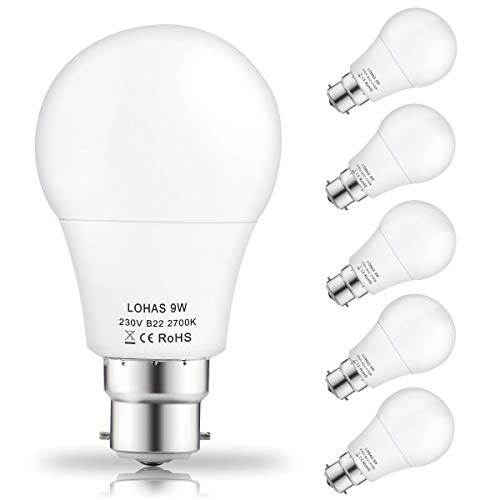(5 Pack)LOHAS 9Watt A60 B22 LED Bulbs, 60Watt Incandescent Bulbs Equivalent, Warm White 2700K, 810lm, Non Dimmable, Bayonet LED Light Bulbs