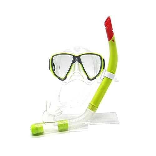 ZXGA Schutzbrillen Die Trockenen Schnorchel Schwimmen Erwachsene Schwimmen Maske Großen Rahmen HD Anti-Fog Und Wasserdicht,Yellow (Ozean Schwimmen-schutzbrillen)