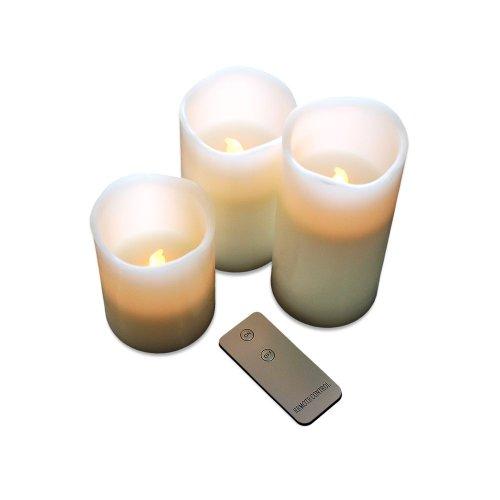 Sonderpreis-Lagerräumung! 3 Stück LED Echtwachskerze mit Fernbedienung Creme Dekoration Stumpen Stumpenkerze Batteriebetrieben Stimmungslicht Partylampe Elektrokerze Kerze