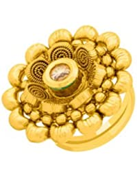 Voylla Floral Yellow Gold Plated Adjustable Ring For Women