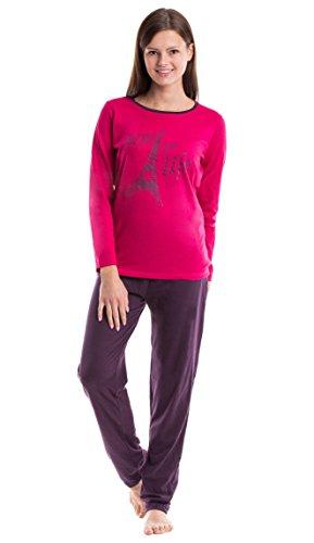 Moonline gemütlicher Damen-Pyjama Schlafanzug Hausanzug mit trendig bedrucktem Langarmtop aus 100% Baumwolle Rose