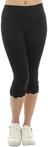 Damen Capri 3 4 Leggings Spitze Baumwolle Hose