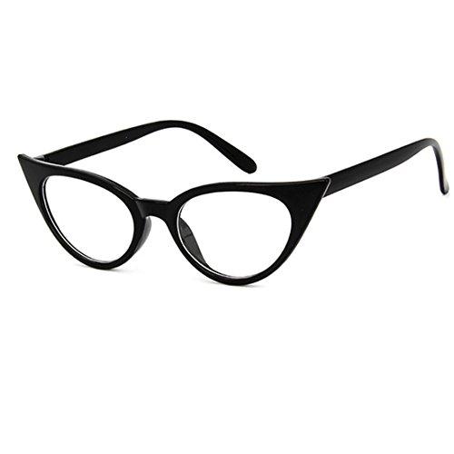 Dawnzen 50er Jahre Damen Brille Elvis Rahmen Partybrille Cat Eye Katzenauge Dress Up Parteien ()