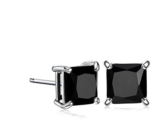 JEWELS Fashion Rvs 6 maten verkrijgbaar - Square Solitaire Sparkling black Crystal Diamond & zilveren kleur Rhodium plated Unisex heren - Bei Rvs