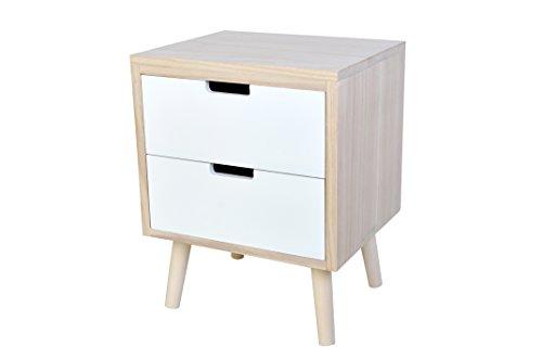 Nachttisch Kommode weiß - aus naturfarbenen Holz mit 2 Schubladen - 36x30x46cm
