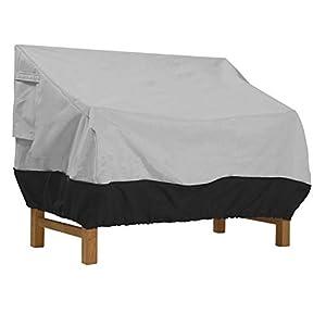 Abdeckung für Gartenbank 2 Sitzer aus Oxford Stoff, Reißfest Wasserdicht Anti-UV, Schwarz, 147 * 83 * 79cm