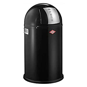 Wesco Pushboy Jr. Waste Can, 5.8-Gallon, Black