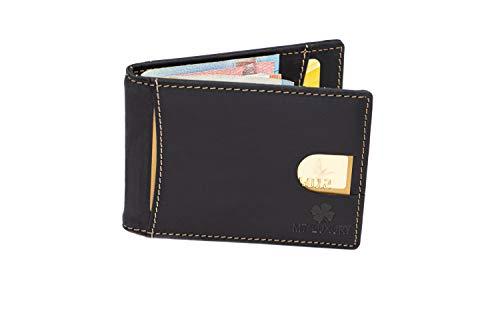 MT Luxury Geldbeutel Männer mit RFID Schutz, schlankes Herren Portmonee mit geldklammer, Geldbörse aus echtem Leder - Ausweisfach - Geschenk Box, Designed in Germany (Schwarz)