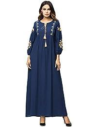 e35659809d5e XIANGHUi Donna Musulmani Robes Manica Lunga Musulmano Abito Abaya Stampa  Maxi Vestito da Matrimonio Banchetto Sera