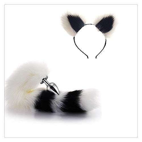 Z-one 1 Pop Fashion Dress Up Spiel Halloween Cosplay Party Spielzeug Love Geschenk Kostüm Set Metall Fuchs Hund Metall Schwanz + Kurze Plus Ohren Z-one 1 Damen Kopfschmuck für Frau - weiß und schwarz (Hunde Ohren Kostüm Schwarz)
