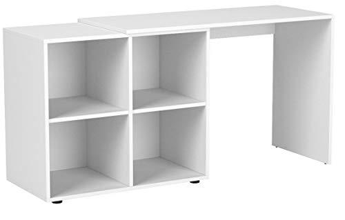 VICCO Regal-Kombination 90°-180° winkelbar weiß Sonoma Eiche - Schreibtisch Eckschreibtisch Regal für Akten, Ordner und Büro PC (Weiß)