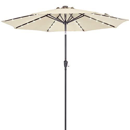 Kingsleeve Sonnenschirm Gartenschirm Kurbel I Solar I Alu I LED Beleuchtung I neigbar I Ø300cm I Creme