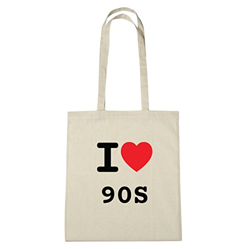 JOllify 90s di cotone felpato b6057 schwarz: New York, London, Paris, Tokyo natur: I love - Ich liebe