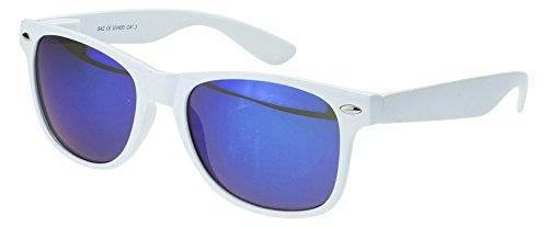 Sense42 | Retro Sonnenbrille | Vintage-Look für Damen und Herren | verspiegelte Gläser | mit Federscharnier-Bügel | weiß, blau, gold, grün, orange, silber