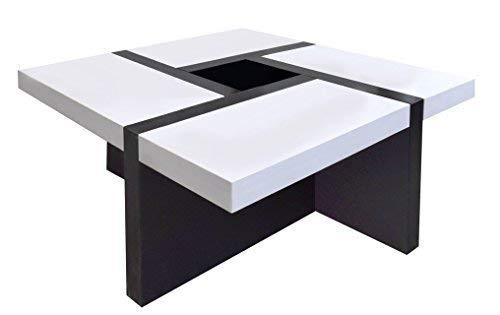 Rebecca mobili tavolino da salotto, bianco nero, per arredamento moderno living salotto - misure 35 x 80 x 80 cm (hxlxp) - art. re4010