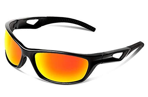 JFSKD Sportreitspiegel für Damen und Herren, Sonnenbrillen, Windschutz für Outdoor-Sportarten und insektensichere Brillen,Black/orange
