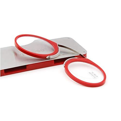 Jackson wang Lesen Sie Brille Stil Nase Clip Kreditkarte, Mini-Unisex-Nasenstütze Prise Fall,Red,+2 (Hinweis 2 Fälle Mit Gürtel-clip)