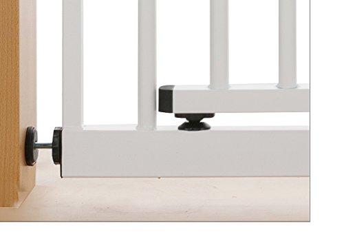Impag XXL Türschutzgitter Treppenschutzgitter 95 – 143 cm mit extrabreiter Komfort-Tür selbstschließend – zum Klemmen Weiß - 5
