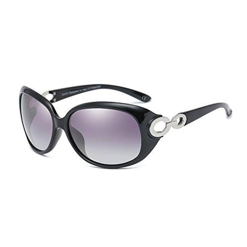 BVAGSS Mode Klassisch Groß Damen Sonnenbrille Polarisiert 100% UV-Schutz Brillen (Black Frame With Black Lens)