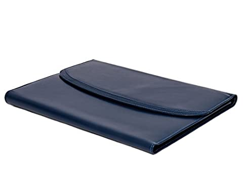 Blue Genuine Leather Writing and Conference A4 Slim Folder Folio with Clipboard