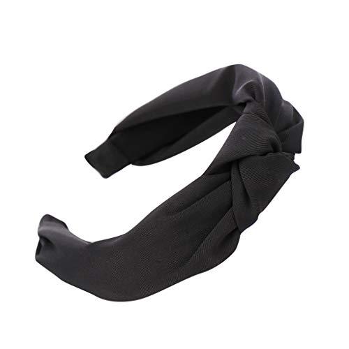 YWLINK Damen Mode Haar Kopfband Mode-Knoten-Haarband Einfache SüßE MäDchen Einfach Volltonfarbe Elegant Sport Breit Haar-Stirnband(Schwarz,)