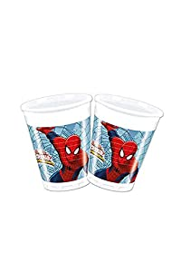Procos 85153 - Vasos Plástico Ultimate Spider Man Web Warriors, 200 ml, 8 unidades, rojo/azul/azul