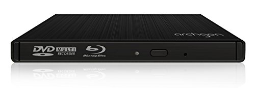 Archgon Externer Blu-ray Brenner Player USB 3.0 BDXL M-Disk DVD Star, Tray Load disc Drive Panasonic UJ-272, Aluminium schwarz - kompatibel mit PC und Mac MacBook Pro, Air, iMac
