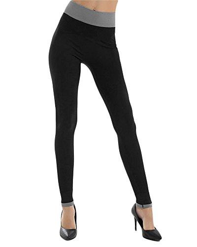 Donna Leggings Sportivi Fitness Pantaloni Running Pantaloni da Ginnastica Yoga Gym Tight Pantaloni Asciugatura Rapida Nero