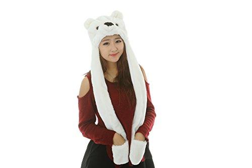 25 estilos Felpa de dibujos animados de animales sombreros con Bufandas Guantes Mitones apoyos del funcionamiento (oso polar-15)