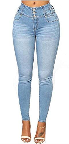 TENGFU Damen Hoher Taille Skinny Jeans Fashion Stretch Slimming Pull On Butt Lifting Denim Pants - blau - 40/42 - Elastische Taille Petite-leggings