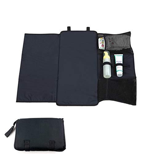 Mexzy Einfache Änderung Baby Wickelauflage Falten Sie Sich Weg Tragbare Reise Design Wasserdicht und Kinderbett Windel Pad (Schwarz) -