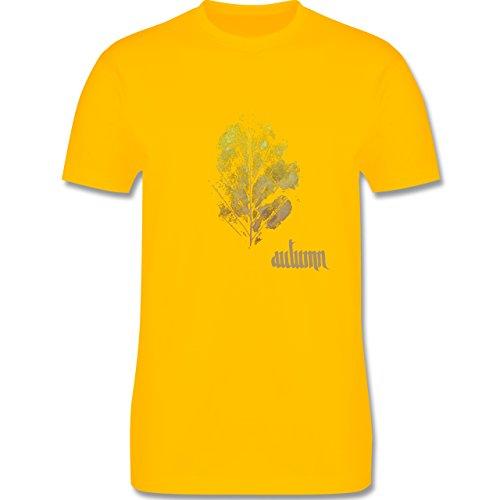 Blumen & Pflanzen - Herbstblatt - autumn leaf - Herren Premium T-Shirt Gelb