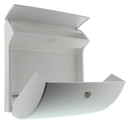 BURG-WÄCHTER, Kompakter Briefkasten mit Öffnungsstopp, A4 Einwurf-Format, Vollkunststoff, Classico 4931 W, Weiß - 5