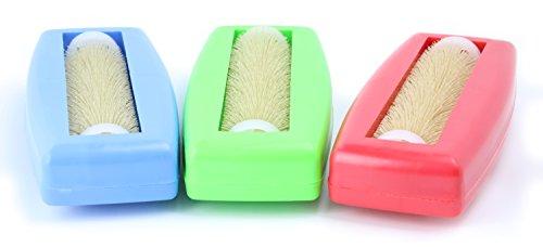 3x Krümelbürste Crumpy, Krümelroller Tischroller Tischbesen Teppichbürste Tischkehrer Handstaubsauger Tischdecken Bürste Auto Caravan Staubsauger Rapido Aspiratutto blau+grün+rot